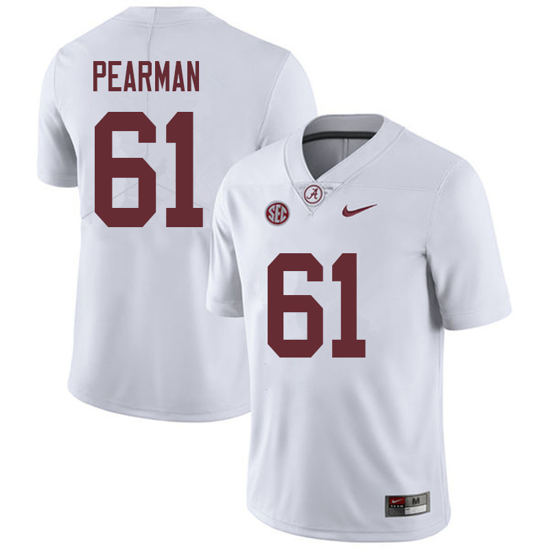 Men #61 Alex Pearman Alabama Crimson Tide College Football Jerseys Sale-White
