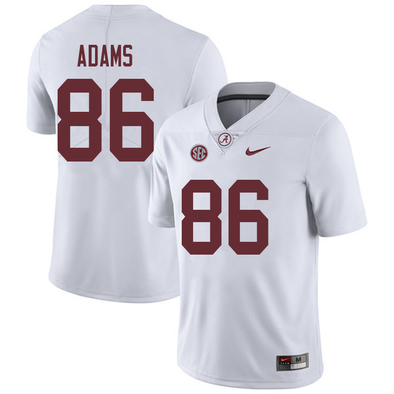 Men #86 Connor Adams Alabama Crimson Tide College Football Jerseys Sale-White