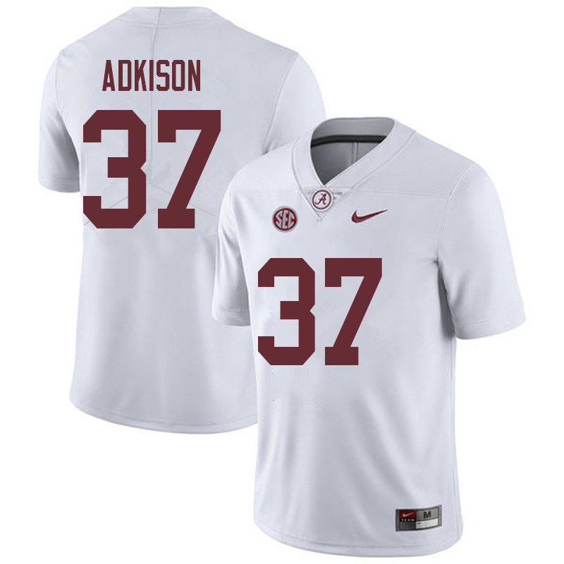 Men #37 Dalton Adkison Alabama Crimson Tide College Football Jerseys Sale-White
