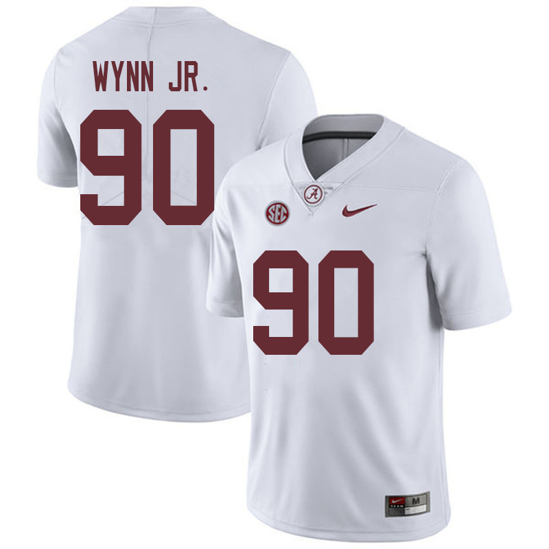 Men #90 Stephon Wynn Jr. Alabama Crimson Tide College Football Jerseys Sale-White
