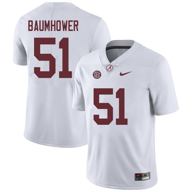 Men #51 Wes Baumhower Alabama Crimson Tide College Football Jerseys Sale-White