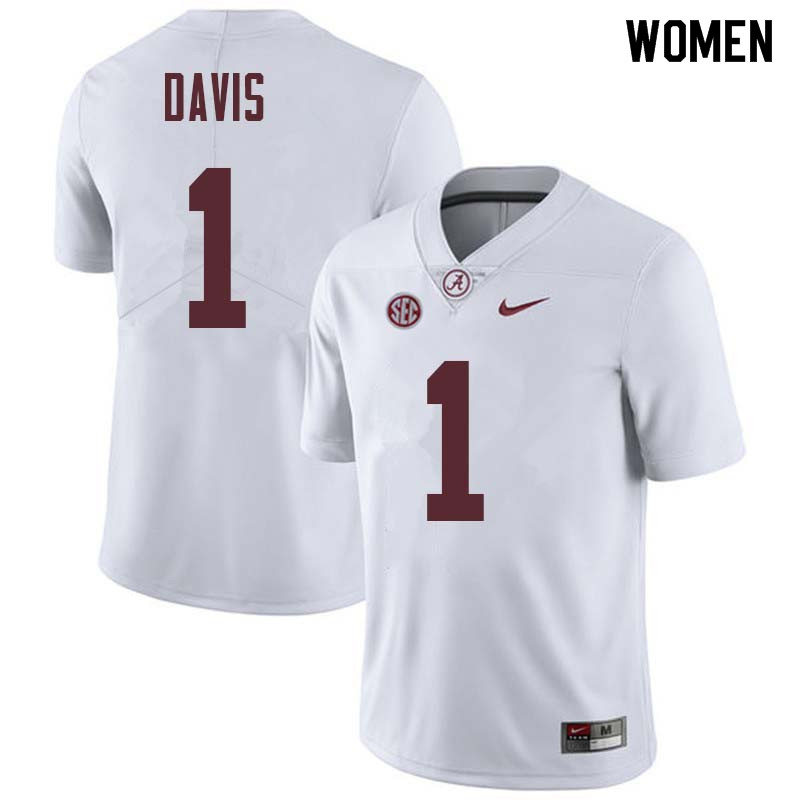 Women #1 Ben Davis Alabama Crimson Tide College Football Jerseys Sale-White