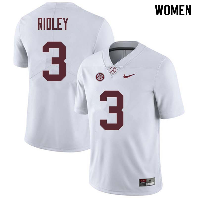 Women #3 Calvin Ridley Alabama Crimson Tide College Football Jerseys Sale-White