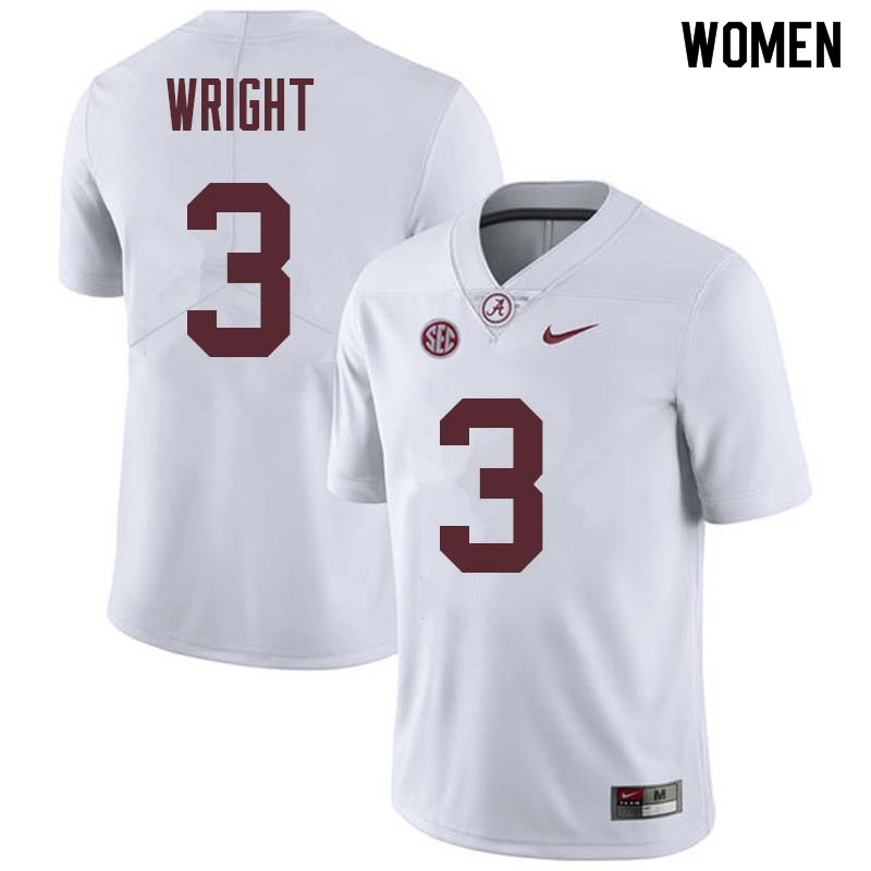 Women #3 Daniel Wright Alabama Crimson Tide College Football Jerseys Sale-White