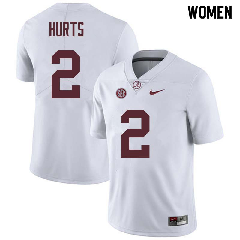 Women #2 Jalen Hurts Alabama Crimson Tide College Football Jerseys Sale-White