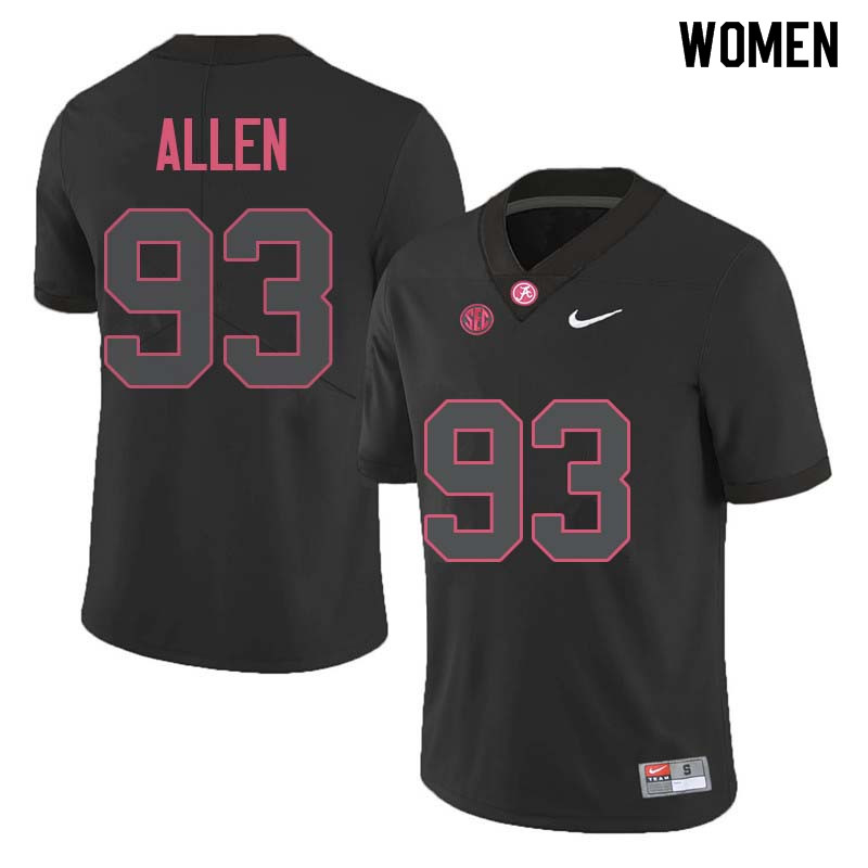 Women #93 Jonathan Allen Alabama Crimson Tide College Football Jerseys Sale-Black