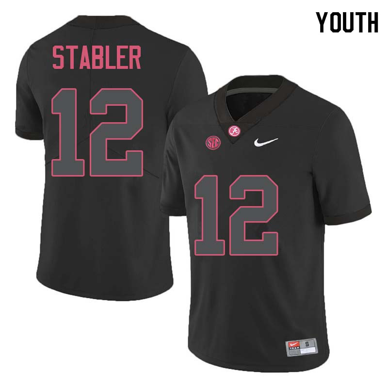 Youth #12 Ken Stabler Alabama Crimson Tide College Football Jerseys Sale-Black