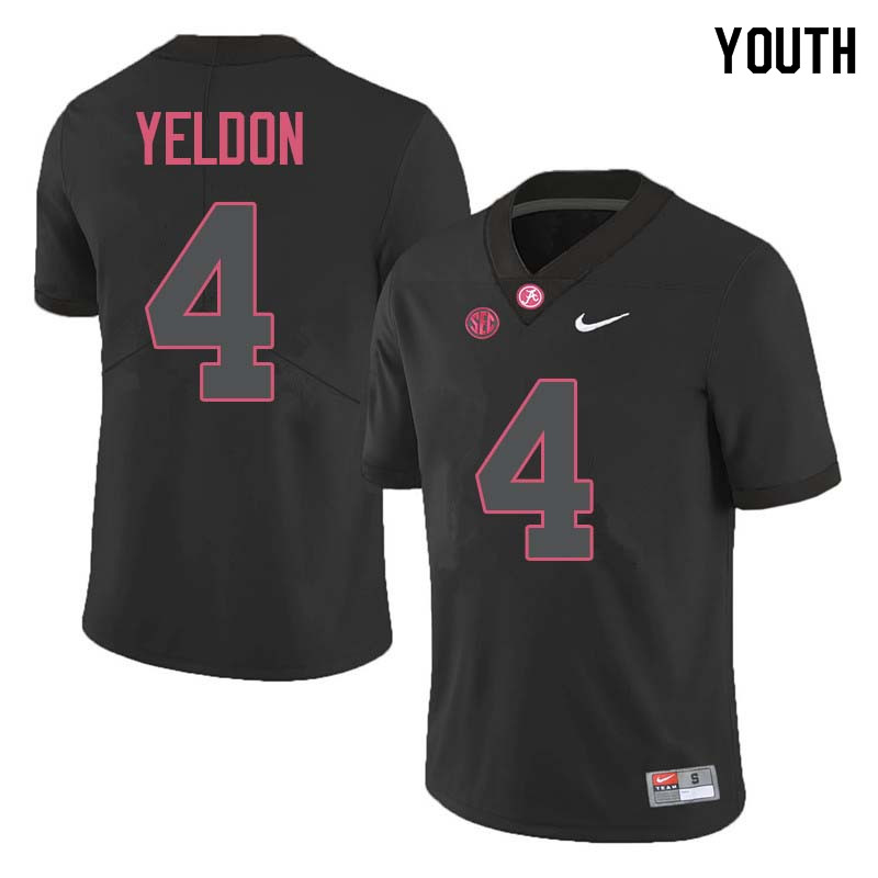 Youth #4 T.J. Yeldon Alabama Crimson Tide College Football Jerseys Sale-Black