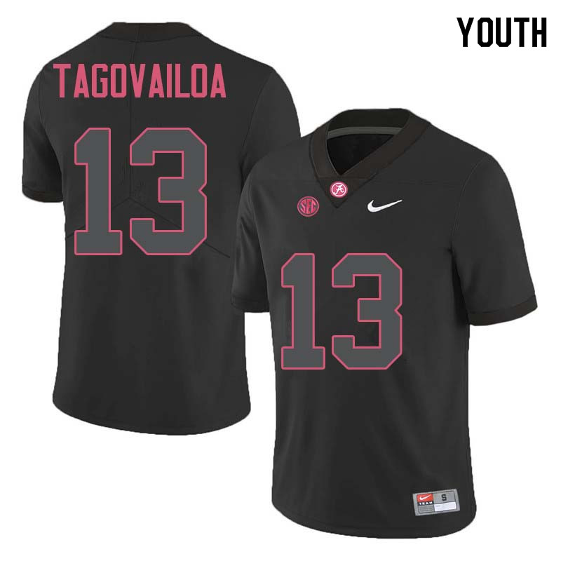 Youth #13 Tua Tagovailoa Alabama Crimson Tide College Football Jerseys Sale-Black